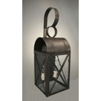 Adams 2 Light 22 inch Dark Brass Outdoor Wall Lantern in Clear Seedy Glass, Candelabra